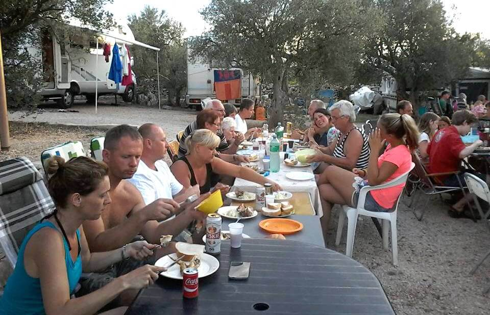 Eating together at Camp Paradiso
